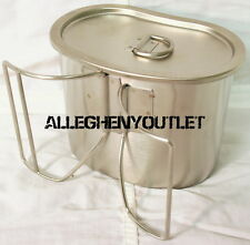 Military Type Stainless Steel Shiny Finish BUTTERFLY CANTEEN CUP WITH LID NEW