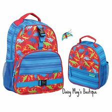 Stephen Joseph Boys Dinosaur Backpack and Lunch Box with Charm - School Bags