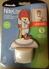 AMERELLE Continuous ON Mr. Cool Baseball Player LED Night Light Red/White 120V