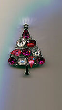 LIA PEACHY PINK  CLEAR CHRISTMAS TREE PIN