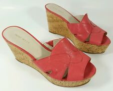 Nine West womens salmon stack wedge heel leather sandals UK 5