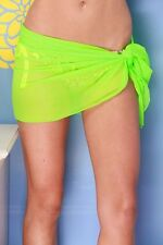 NEON GREEN SHORT MESH SHEER SARONG Beach Cover-up Wrap Skirt ~ MADE IN U.S.A.