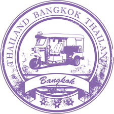 "Bangkok Thailand Travel Bus Grunge Stamp Car Bumper Sticker Decal 5"" x 5"""
