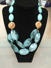 NWOT Light Aqua Sea foam And Gold Beaded Bib Statement Necklace Anthropologie