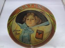 VINTAGE STYLE ADVERTISING TIN SERVING TRAY SATIN CIGARETTE TOBACCO G-50