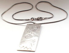 Handmade 925 Solid Sterling Silver Etched Rectangle Snake Chain Necklace Surfer