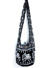 NEW WOMEN HOBO SHOULDER BAG SLING GYPSY CROSSBODY THAI UNISEX ELEPHANT BLACK HOT