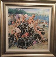 "RARE NEW SUPERB ORIGINAL GORDON KING  ""On the Lobster Pots"" Seaside OIL PAINTING"