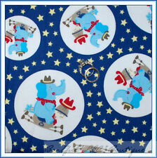 BonEful Fabric FQ Red White Navy Blue Baby Star Elephant Circle Dot Horse Cowboy
