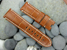 24mm Grain Leather Strap Deployment Honey Brown Watch Band PANERAI PAM 24 XV