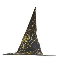 Lux Accessories Black and Gold Tone Spider Web Halloween Printed Mesh Witch Hat