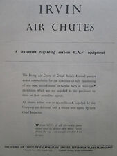 6/47 PUB IRVING AIR CHUTE IRVIN PARACHUTE RAF EQUIPMENT ORIGINAL AD