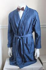 "vintage St Michael blue stripe silky dressing gown smoking jacket 60s mens M 40"""