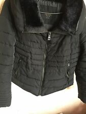 ZARA Black Down Anorak Puffer Jacket Coat Gold Zip Fur Collar Extra Large XL