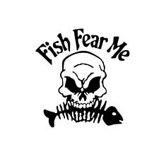 Black Fish Fear Me Skull Bone Fishing Door Bumper Wall Decals Car Stickers Cool