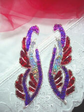 0033 BEADED SEQUIN APPLIQUES MIRROR PAIR PURPLE RED  6""