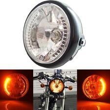 "1p of 7"" Dual Beam Headlamp With Amber LED Turn Signal Cruiser Bike Motorcycle"
