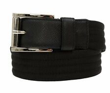 NEW PRADA MILANO MEN'S BLACK CANVAS SAFFIANO LEATHER LOGO BUCKLE BELT 85/34
