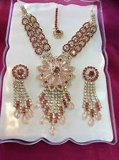 Bollywood Indian Bridal Necklace Earrings Jewellery Party Wear Set White Pink