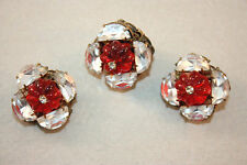 Miriam Haskell Molded Red Glass Pin & Earrings!