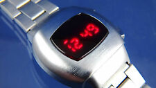 Stile VINTAGE GRANDE GROSSA Anni'70 Retrò DIGITAL RED LED LCD WATCH 12 & 24 ore