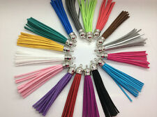 30pcs Multi-Colors Leather Tassel with Silver Caps Cell Phone Straps/DIY Charms