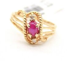 VINTAGE LADIES 14K YELLOW GOLD RING WITH STAR RUBY & DIAMONDS .SIZE 6 RESIZABLE