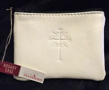 White Rosary Case, Embossed Cross For Baptism, First Communion, Religious Gift