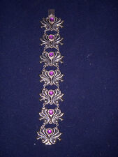 BEAUTIFUL VINTAGE SIGNED AEM MEXICAN SILVER AMETHYST BRACELET FLORAL