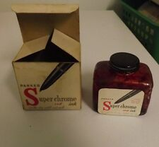 Vintage Parker Superchrome Red Ink with Box Bottle has Metal Lid. Almost Empty