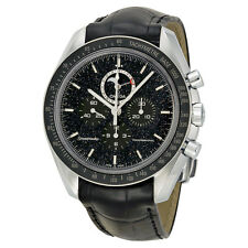 Omega Speed Chronograph Black Dial Black Leather Mens Watch 31133443201001