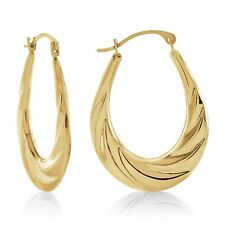 10k Yellow Gold Fancy Polished Textured Hoop Earrings