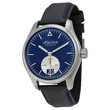 Alpina Startimer Pilot Big Date Black Blue Dial Black Leather Mens Watch