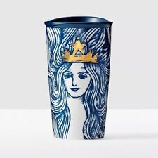 2016 Starbucks Blue Siren Mermaid with Gold Crown Double Walled Travel Tumbler