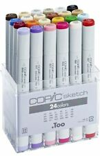 COPIC SKETCH MARKER PENS - 24 BASIC COLOUR SET - GRAPHIC ART MARKERS