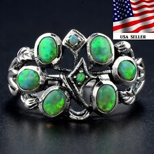 2CT Australian Opal 925 Solid Sterling Silver Art Nouveau Filigree Ring Sz 7