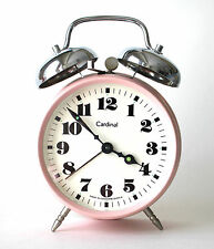 Vintage Wind Up Alarm Clock Pink Made in Czechoslovakia Metal Keeps Time Well