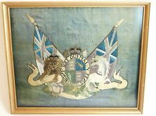 ANTIQUE c1860 Victorian Coat of Arms Royal Navy Stumpwork Needlework Embroidery