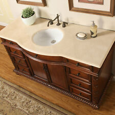 60-inch Lavatory Single Sink Bathroom Vanity Marble Stone Top Cabinet 0268CM