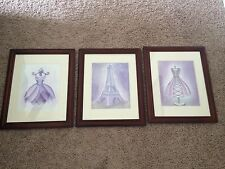 Girls Baby Shabby French Chic Nursery Pictures Unframed Purple & White Dress