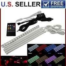 8 Color LED Glow Car Interior Light Strip Under Dash Footwell Lighting Kit 4Pcs