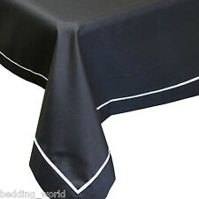 "70"" x 90"" ELEGANT BLACK SILVER TABLE CLOTH FAUX SILK EFFECT XMAS PARTY CHRISTMAS"