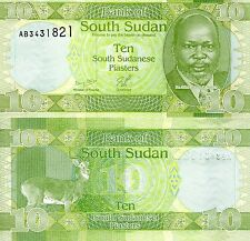 SOUTH SUDAN 10 Piasters banknotes World Paper Money UNC Currency Pick p-2 (2011)