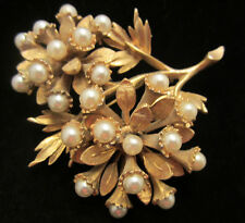"""Rare Vtg 2-3/4"""" Signed HAR Gold Tone Faux Pearl Flower Statement Brooch Pin A37"""