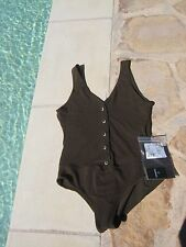 NWT authentic CHANEL one-piece dark green swimsuit bodysuit F40 or 42 2015