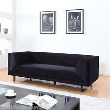 Modern Mid Century Black Velvet 3-Seater Sofa Single Long Cushion Wooden Legs