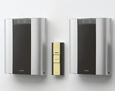 Friedland Libra+ 200m Twin Wireless Wall Mounted Chime kit, Brass Push