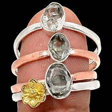 Two Tone - Herkimer Diamond 925 Sterling Silver Ring Jewelry s.8.5 RR27050