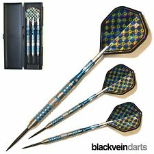 21G BLUES 95% Engraved TUNGSTEN DARTS SET. With Spin Top Stems.Hard Back Case.B5