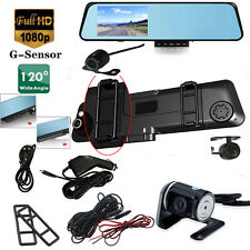 "HD 4.3"" 1080P GPS Dual Lens Video Recorder Dash Rearview Mirror Car Camera DVR"